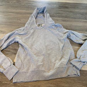 PAM & GELA DISTRESSED SHRED GRAY SWEATSHIRT SZ XS